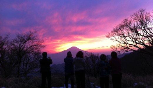 丹沢山のみやま山荘へ。富士山へ沈む夕陽