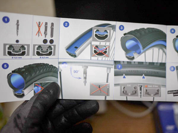 新品のクロスバイク用チューブ「シュワルベの700×18/28C」の説明書