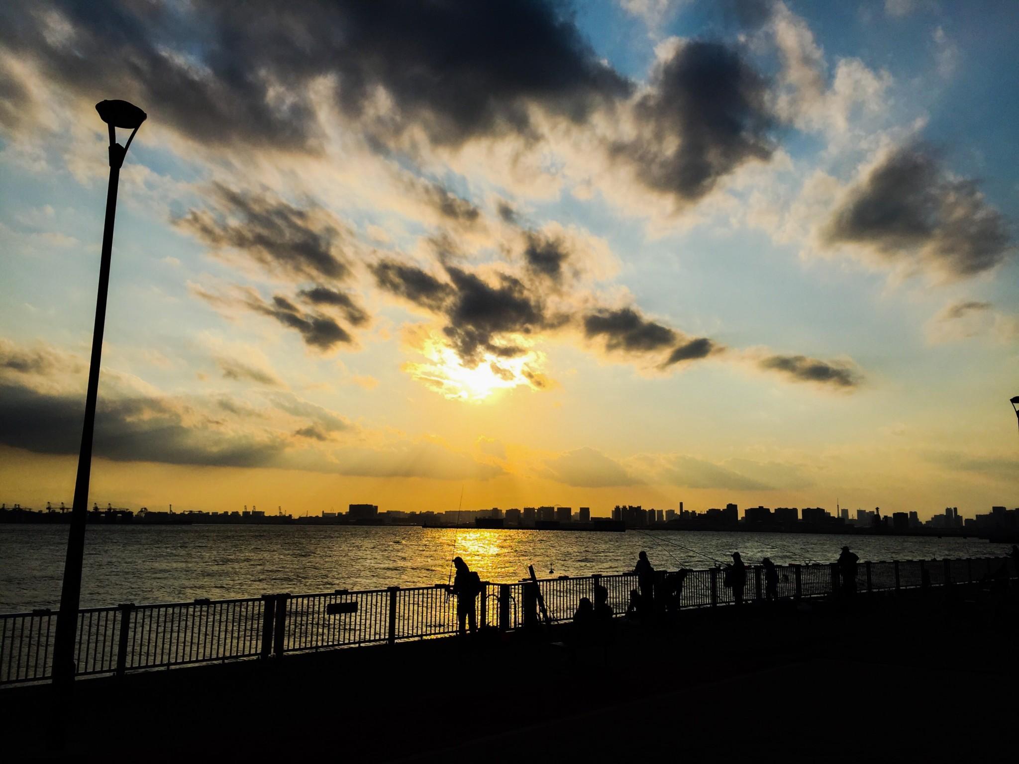 東京ゲートブリッジのすぐ近くの海浜公園の夕焼け