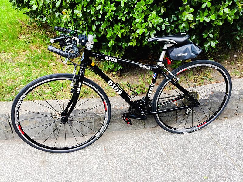 ブルホームハンドルに交換したクロスバイク